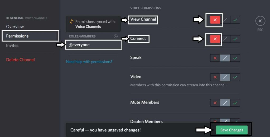 how to make a discord channel private