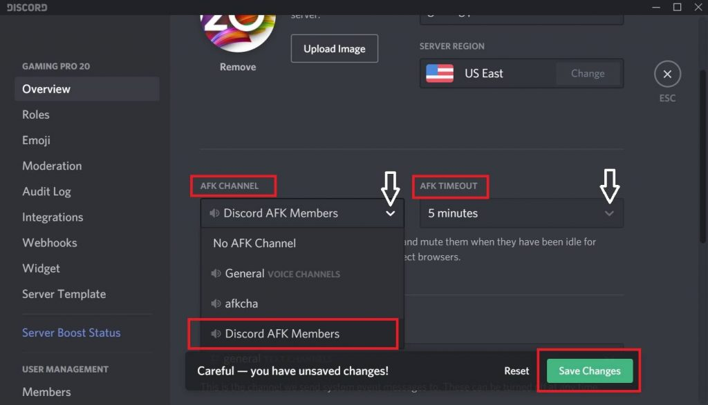 How to make an afk channel in Discord