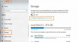 How to free space in Windows 10