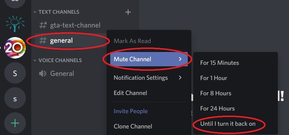 mute discord channel notifications