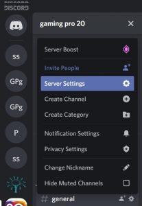 Discord server settings
