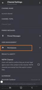 Discord channel permission on android