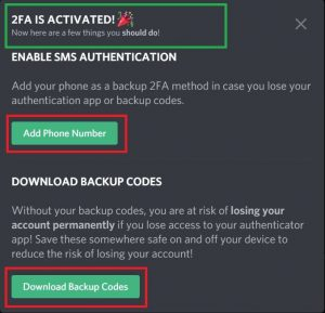 Enable SMS authentication on Discord