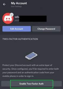 Discord two factor authentication new phone