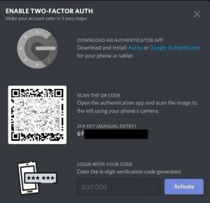 discord Scan QR code for 2FA