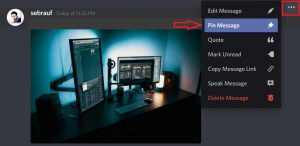 pin messages in discord