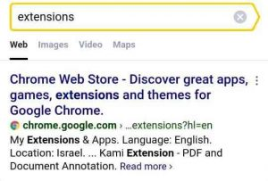 Chrome web store extension in Yandex
