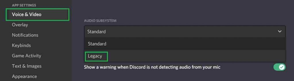 How to use Legacy Audio Subsystem in Discord