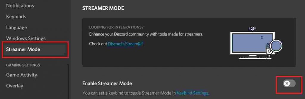 Disable Streamer mode in Discord