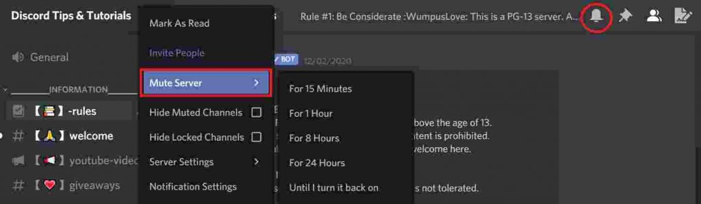 Discord notifications muted