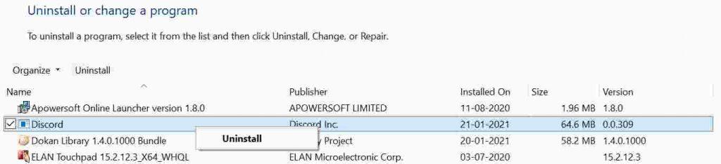 Uninstall Discord on Windows 10