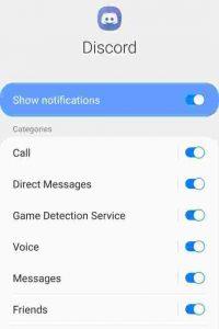 Discord settings on phone