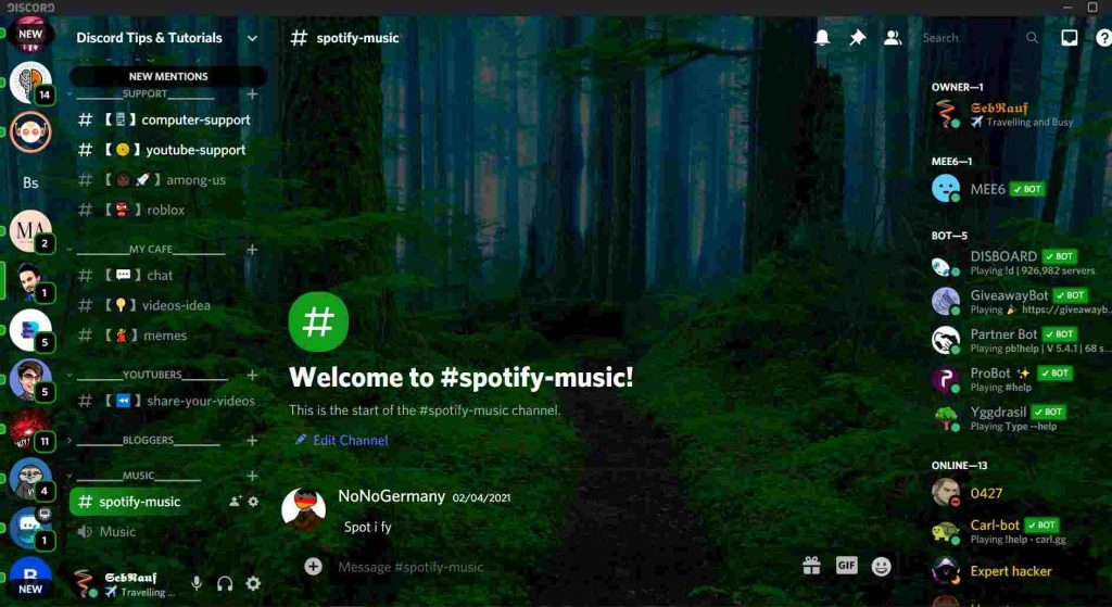 Green forest background for discord